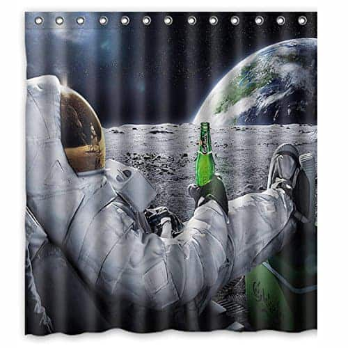 Astronauts beer shower curtain
