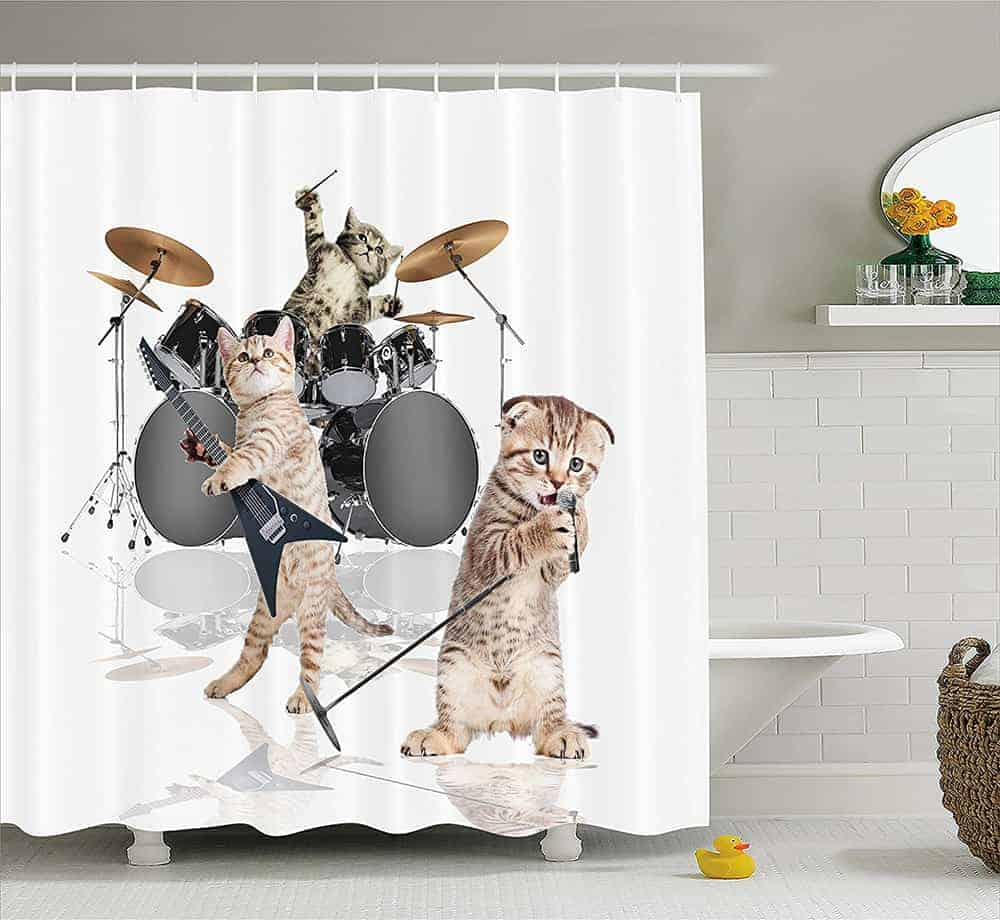 Band of kittens shower curtain