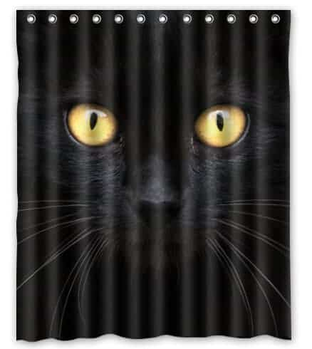 Black cat in the dark shower curtain
