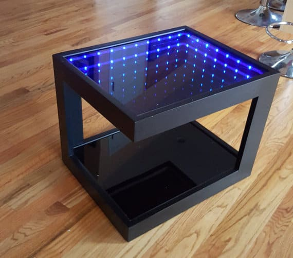 Black coffee table with illusion lights