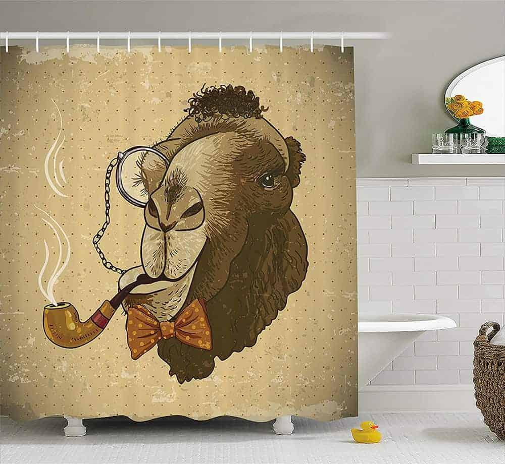 Camel smoking shower curtain