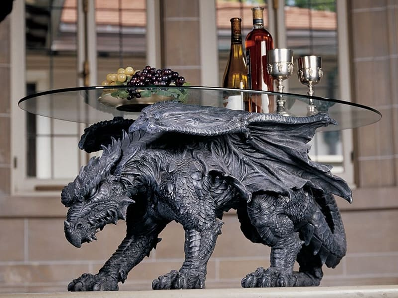 Dragon glass-topped coffee table
