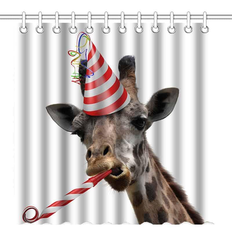 Giraffe party animal shower curtain