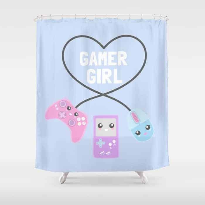 Girl gamer shower curtain