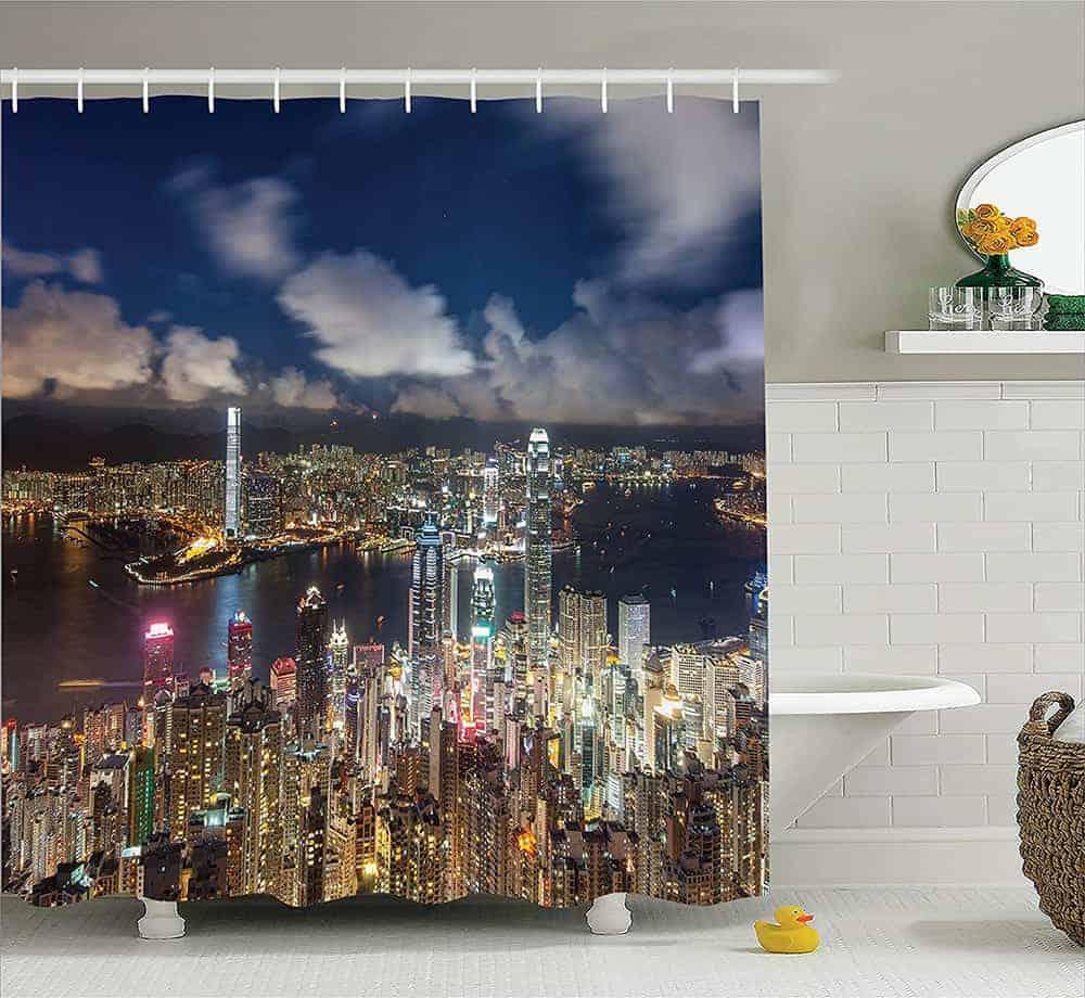 Hong-Kong night view shower curtain