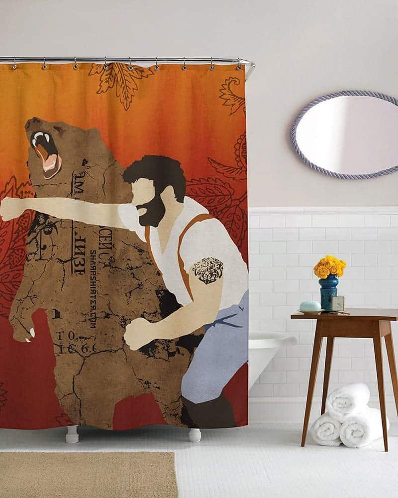 Lumberjack Punching Bear Curtain