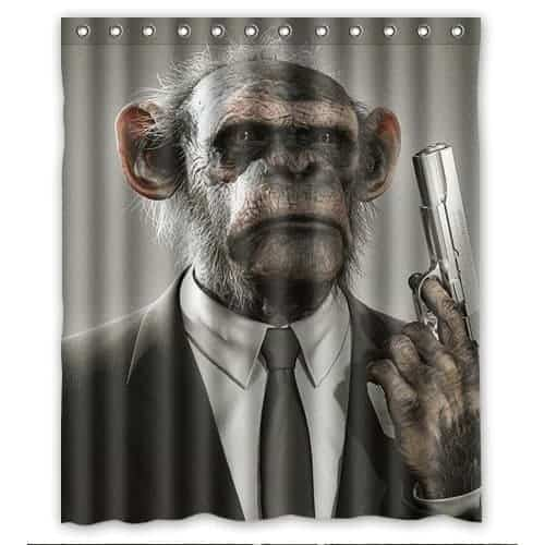 Monkey Holding A Gun Shower Curtain