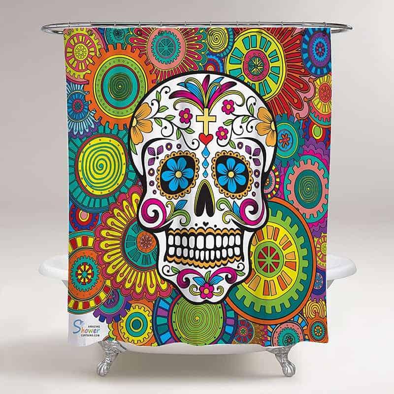 Rainbow skull and cross bones shower curtain