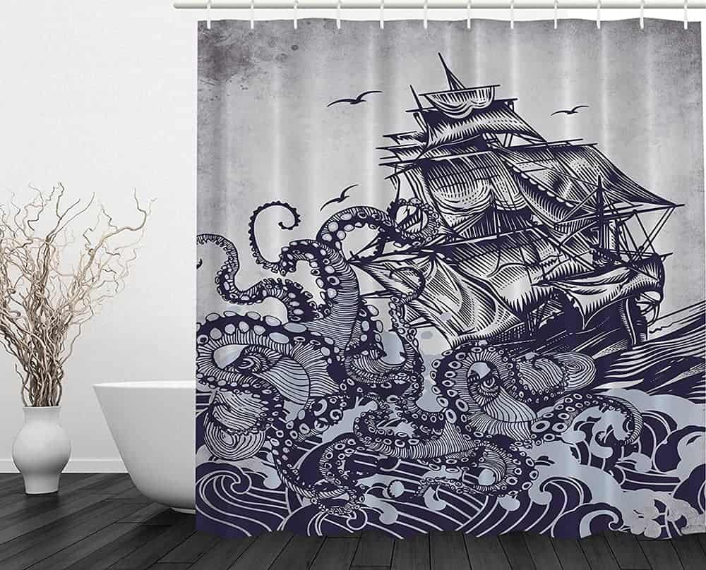 Sailboat And Octopus Shower Curtain