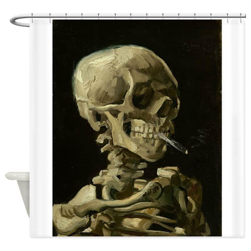 Skeleton with burning cigarette shower curtain