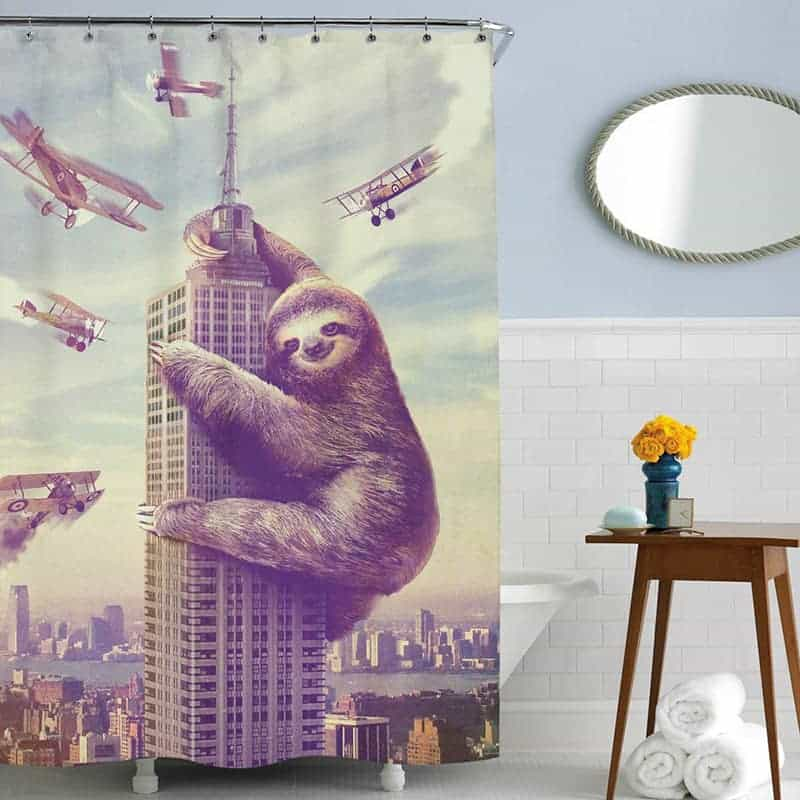 Sloth empire state building shower curtain
