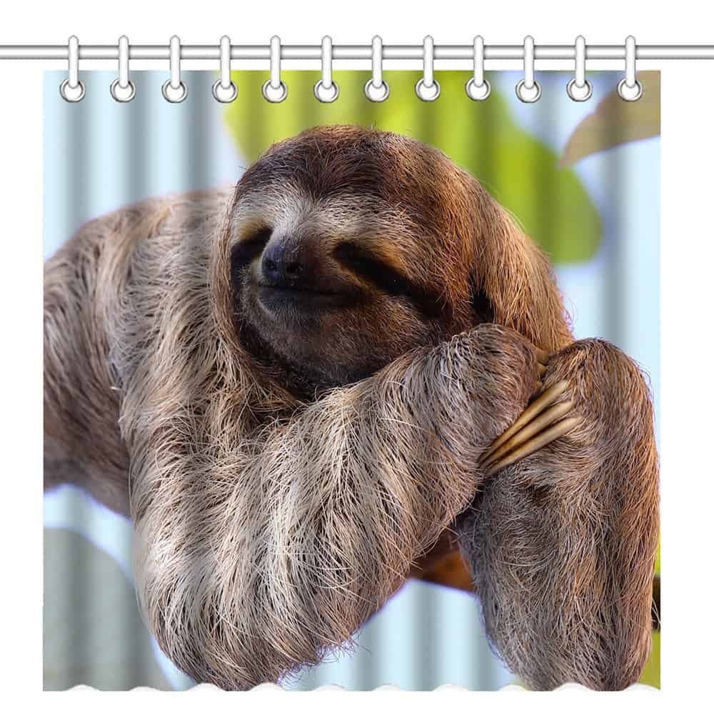 Sloth shower curtains curtain for sale stripper hooks for Sloth kong shower curtain