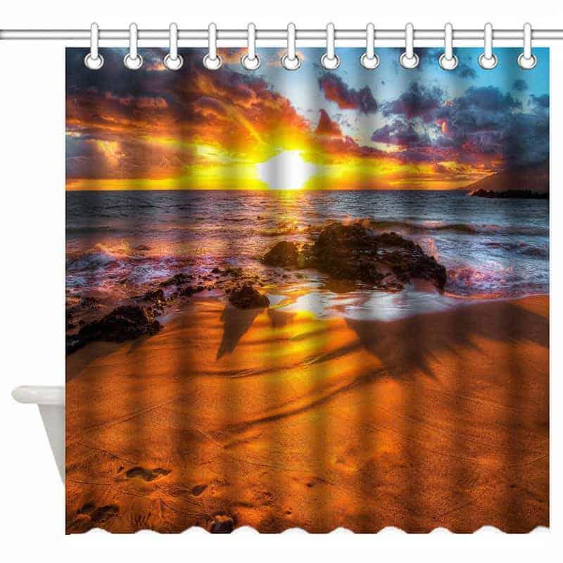 Sunset Sandy Beach Shower Curtain