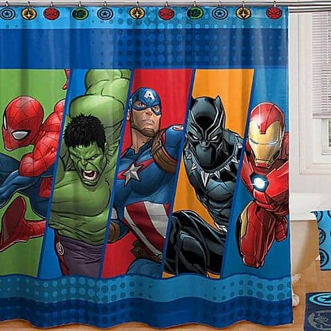 Superhero shower curtain