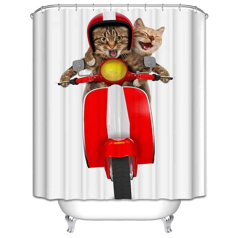 Two Cats Riding Moto Shower Curtain