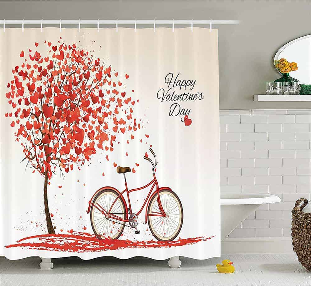 Red Brick Wall Pattern Waterproof Fabric Home Decor Shower Curtain Bathroom Mat