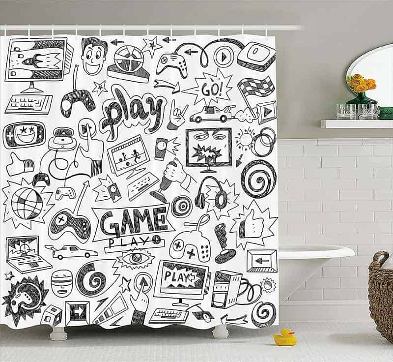 Video games shower curtains