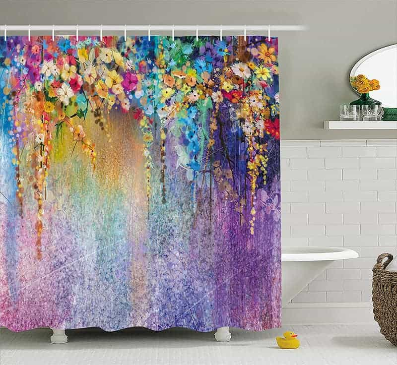 Watercolor flower shower curtain