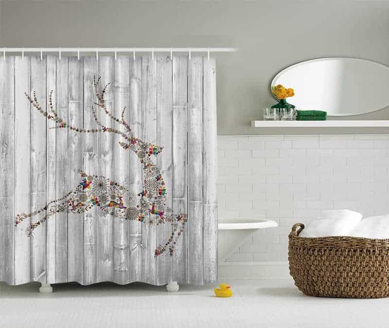 White washed Christmas shower curtain