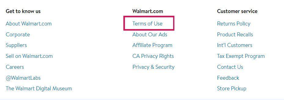 Terns of use- Walmart