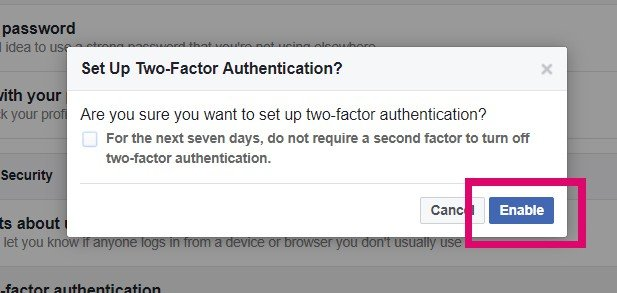 enable 2fa on facebook