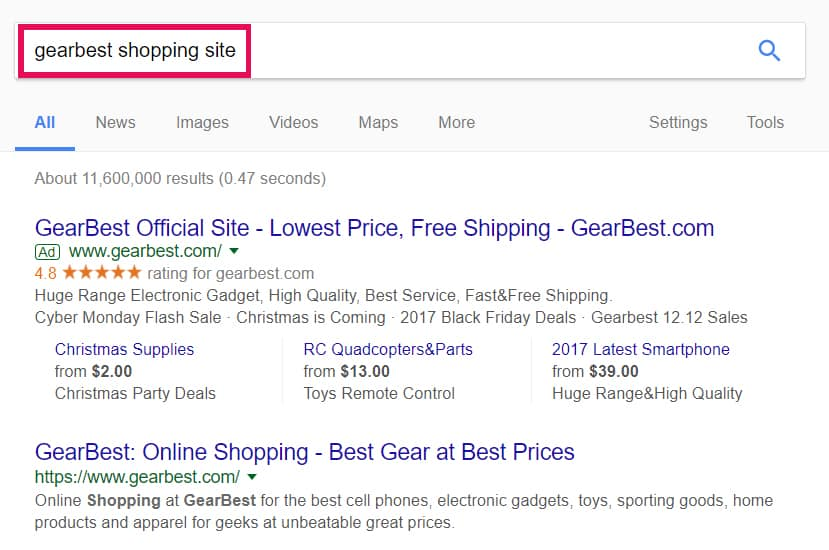 search shopping site on google