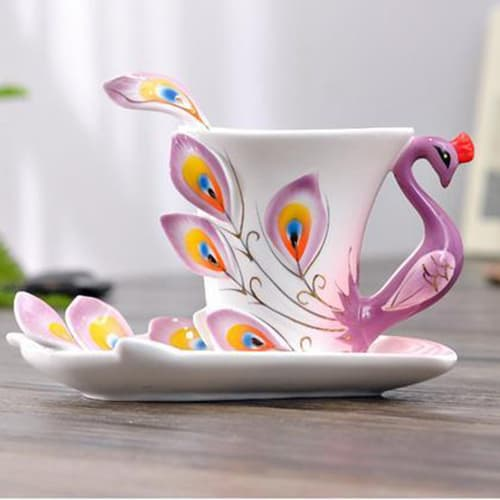 3D Peacock cup and saucer with spoon set