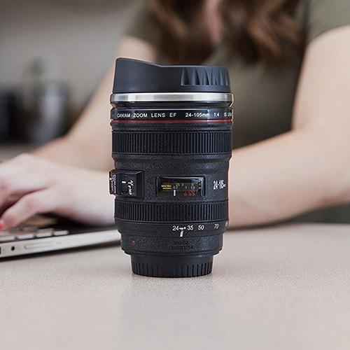 Camera lens travel coffee mug