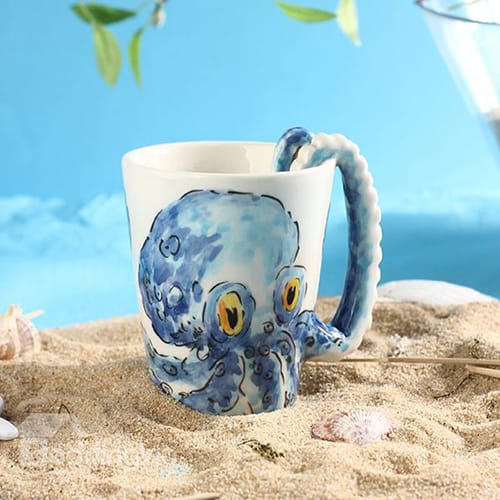 Ceramic 3D octopus coffee mug