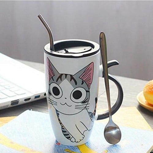 Cute cat ceramic mug with lid - cool coffee mugs
