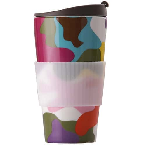 French bull porcelain travel coffee mug with lid