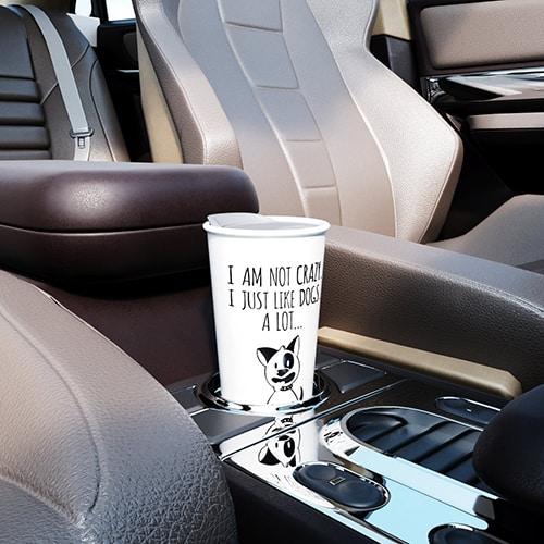 I just like dogs - Travel coffee mug with lid