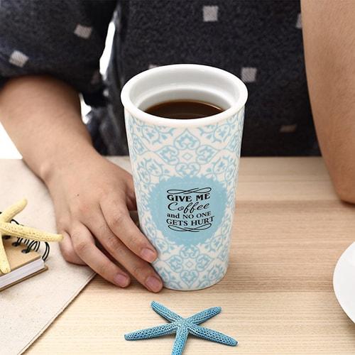 Travel ceramic coffee mug
