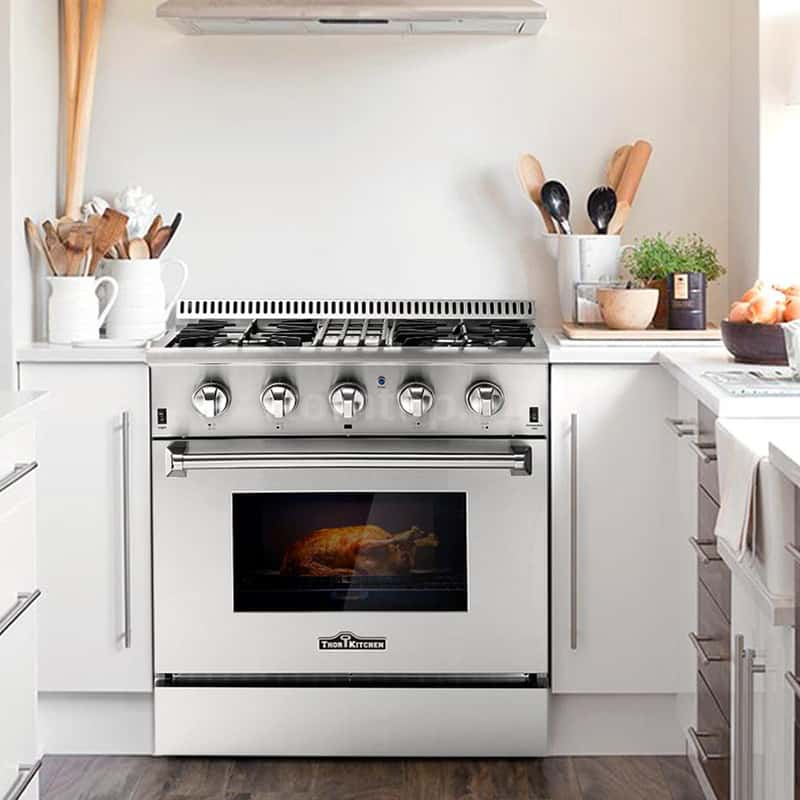 Thor kitchen 4 burner dual fuel range oven