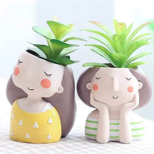 Cute Boy And Girl Flower Pots