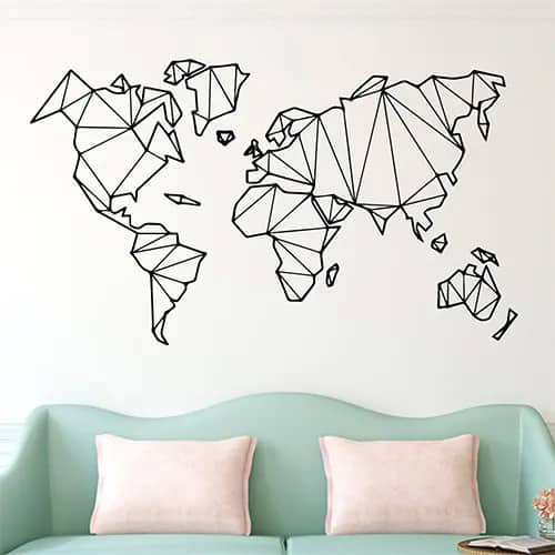Geometric World Map Sticker