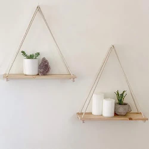 Hanging Wooden Shelf For Flower Pots