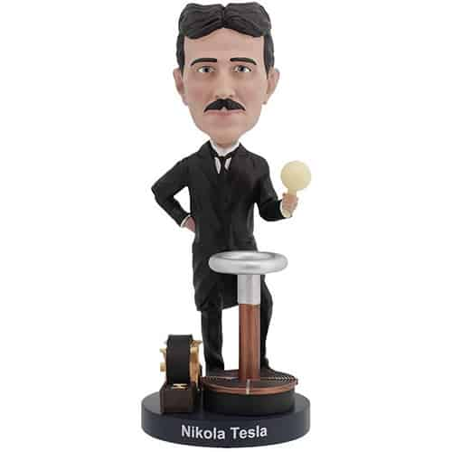Nikola Tesla Bobblehead With Glow-In-The-Dark Light Bulb