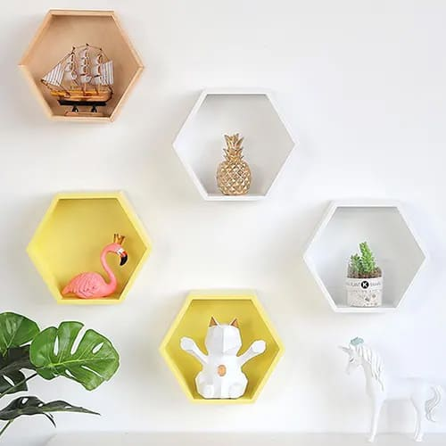 Wooden Hexagon Wall Mounts